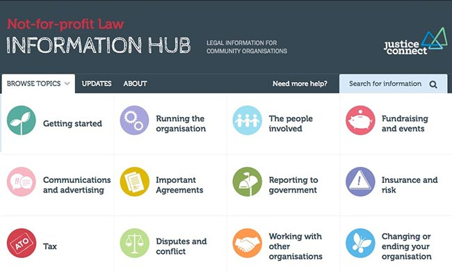 Screenshot NFP Law Information Hub website